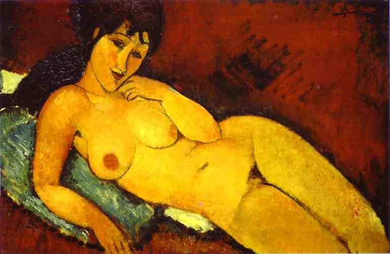 Nude girl on a Blue Cushion